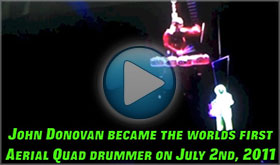 John Donovan The Party Percussionist is the Worlds First Aerial Quad Drummer