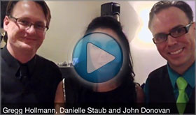 Danielle Staub of The Real Housewives of New Jersey gives John Donovan The Party Percussionist a video testimonial after HARPO filming for Oprah, Where Are They Now, Celebrating Jillian Staubs Sweet Sixteen
