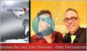 Andrew Bor gives John Donovan The Party Percussionist a video testimonial